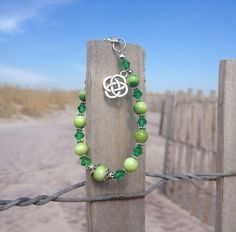 Abalone Shell and Green Crystal Celtic Bracelet  on Etsy, $19.99