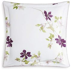 Intricate and vibrant, this count collection from Yves Delorme features a highly-detailed Wild Clematis design on a pure white cotton sateen.
