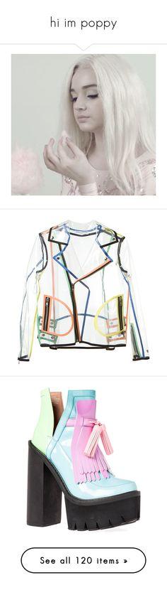 """hi im poppy"" by selenahyacintha ❤ liked on Polyvore featuring outerwear, jackets, tops, coats, transparent jacket, long sleeve jacket, moto jacket, zip jacket, nylon jacket and shoes"