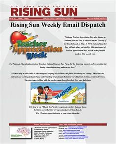 Rising Sun Weekly Email Dispatch for the week of May 8, 2017 (Volume 5, Number 2)  Weekly Informational Newsletter