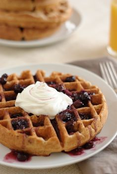 Whole Wheat Waffles. {Changes: Only 1 1/2 cups of milk and of that 2 T. was orange juice. Separate the eggs. Beat and fold the egg whites in at the end.}