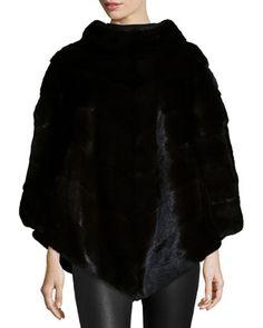 Mink Fur Asymmetric Poncho, Black by Norman Ambrose (=)