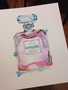 This is a RESERVED listing for katiemurdaugh for an original watercolor painting of the iconic Chanel no.5 perfume. Painting will measure 12x16.