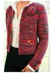 Perfect for any occasion, from jeans to dressy! Knit with 1050 yds of two fingering-weight yarns (Yarn A & B) and one lace-weight yarn (Yarn C) held together throughout. Knit at a gauge of 18 sts per 4 Gilet Crochet, Crochet Jacket, Crochet Cardigan, Knit Crochet, Baby Cardigan, Cardigan Sweaters, Sewing Clothes Women, Crochet Clothes, Chanel Style Jacket