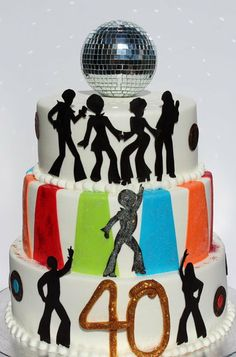 70s Disco - by CakesbyKerrin @ CakesDecor.com - cake decorating website