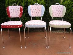 retro kitchen chairs covered in polka dot and floral oil cloth