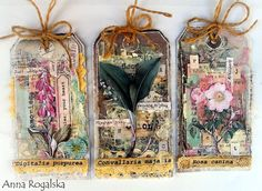 7 Dots Studio Tag Tutorial #botanical #tag #flowers #mixedmedia #7dotsstudio #tutorial