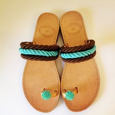 Handmade leather sandals decorated with brown and turquoise cord Boho Sandals, Fashion Sandals, Leather Sandals, Shoes Sandals, Flat Sandals, Pom Pom Sandals, Beaded Shoes, Loafer Slippers, Cute Shoes
