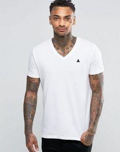 Белая футболка с логотипом и V-образным вырезом ASOS