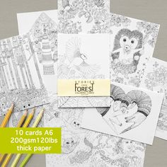 10 coloring cards stories from forest thick card stock paper adult coloring - Coloring Book Paper Stock