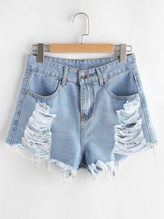 SHEIN offers Distressed Frayed Hem Denim Shorts & more to fit your fashionable needs. Ripped Jean Shorts, Distressed Denim Shorts, Skinny Fit Jeans, Blue Denim, Denim Fashion, Fashion Outfits, Fashion Black, Fashion Fashion, Fashion Ideas