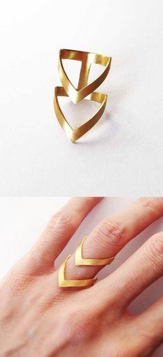 Gold Chevron Ring