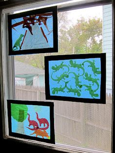 Stained Glass Window Look-a-Like craft project for kids.  All you need is contact paper and tissue paper!  Found at Joyfully Weary.