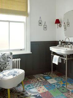 bathroom london, patchwork floor