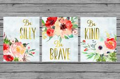 Nursery Wall Art Nursery PRINTABLE Art Baby girl Nursery Decor red green Gold floral watercolor Nursery Set of 3 prints Nursery bouquet by MINTablePrintables on Etsy