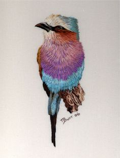 Lilac Breasted Roller by T. Burr. Amazingly realistic needlework!