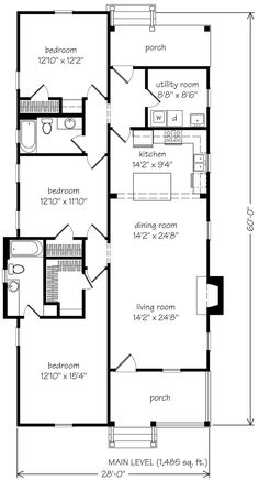 I have also seen this plan with just 2 bedrooms..ready for a tiny house