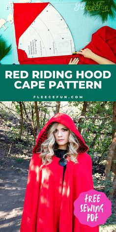 Will keep the chill from nipping, but not the wolves. This cape has a video tutorial with a FREE sewing pattern. It's only six steps - looks DIY easy! Love this fleece sewing Project - Red Riding Hood Cape Pattern. It's a great costume pattern that has a classic look. It can work for different costumes. Perfect for Halloween. I love how the sewing tutorial is geared for beginners. It's a great beginner sewing project. Sewing Projects For Beginners, Sewing Tutorials, Sewing Patterns Free, Free Sewing, Halloween Room Decor, Halloween Camping, Project Red, Cape Pattern, Easy Costumes