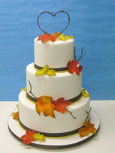 Autum leaves by LovelyCakes.net, via Flickr    Simple and perfect for a fall wedding.