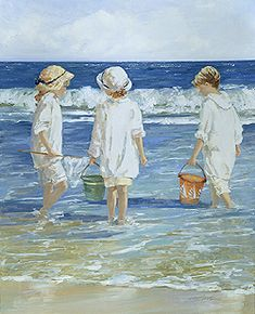 Shell Collecting - Newport Beach by Sally Swatland - 32 x 26 inches Signed impressionist beach scenes children playing contemporary american chase pothast