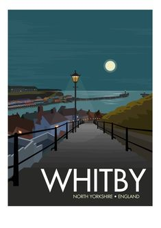 The picturesque fishing town of Whitby sits on on the east coast of England in North Yorkshire. Famed for its gothic abbey, the 199 steps (from which this North Yorkshire, Yorkshire England, England Uk, Oxford England, Cornwall England, Yorkshire Dales, London England, Yorkshire Tea, Poster