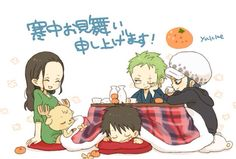 Look how Zoro is looking at Robin and look how cute Chopper looks