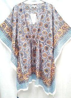 Boho chic Saffron Blue & Maroon Anokhi Floral Hand block print Indian cotton…