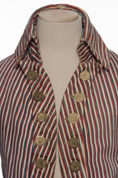 Striped cotton men's coat with engraved copper buttons (detail), French, c.1791.