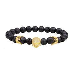 #SammyDress - #Rosewholesale Energy Lava-Rock Crown Skull Yoga Bracelet with Diamond - AdoreWe.com
