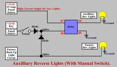schematic for wiring up aux reverse lights without switch modif rh pinterest com