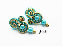 Turquoise and gold-  soutache earrings ! orecchini soutache,boucles d'oreilles soutache