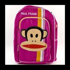"""Paul Frank Backpack New With Tags Paul Frank Backpack  New With Tags This is a pink girls design with monkey face in the center. It has side mesh pockets with two zippered compartments.  It measures approximately 16"""" x 12"""" x 4 1/2"""". Bags Backpacks"""