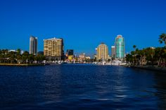 St Petersburg skyline as taken from the waterfront park by the old pier. Looking back at the city, you can see how Tampa Bay offers the opportunity for many to fish, sail, and simply enjoy the water. As time passes, more high-rise condo buildings continue to pop up and block