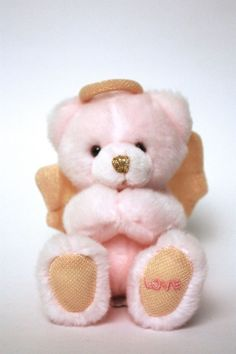 RUSS Pink Praying Angel Teddy Bear Stuffed Animal w/Gold Wings, Halo Love on Paw #Russ