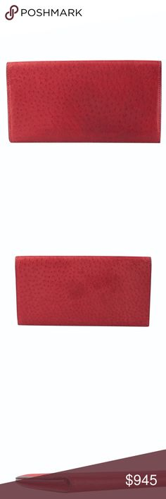 Hermes MC2 Envelope Bi-fold Wallet (130318) Exterior Condition: Gently Used Material: Ostrich Origin: France Meas (L x W x H): 6.75x.5x3.5 Production Code: Square D Card Slots: 5 This Hermes wallet features: -Exterior shows scuffing and wear -Interior shows scuffing and wear and the compartments are stretched Ref: 134389-130318-EMS-MZ IPL: ACC-3 Hermes Bags Wallets