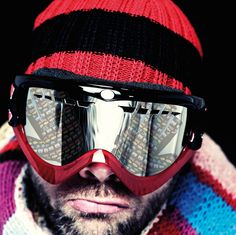 Man Wearing Ski Hat and Goggles Ski Hats, Image Now, Oakley Sunglasses, Skiing, Stock Photos, How To Wear, Collection, Gloves, Fashion