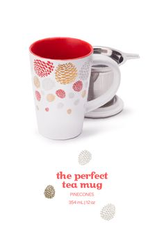 Get ready for fall with this cozy infuser mug, covered in a fun pinecone design.
