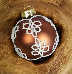 Christmas Time – Copper brown tatting lace Christmas tree bauble – a unique product by Tansyjay on DaWanda