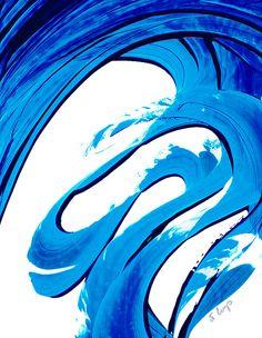 Blue White Painting Abstract Art Minimalist Minimal Minimalism Simple High Contrast Pure Water 315 Sharon Cummings Artist
