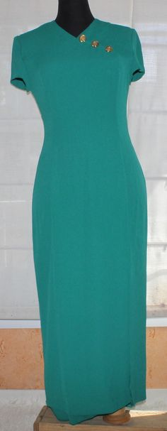 Vintage Teal maxi dress with gold button by TheBonjEmporium