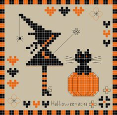 Biscornu HALLOWEEN 2013... no color chart available, just use the pattern chart as your color guide.. or choose your own colors...