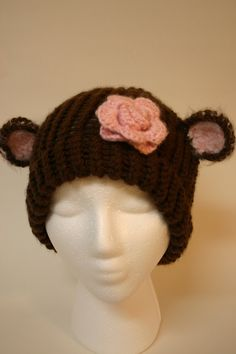 Adult Size Whimsical Monkey Hat by Yvettemariesfineart.
