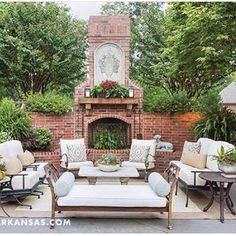 Loving this back yard that we have helped transform through the years. Thanks so much At Home in Arkansas for the feature. #providencedesign #goodearthnursery#athomeinarkansas #landscape #backyardroom #outdoorfireplace #loveanoutdoorfire