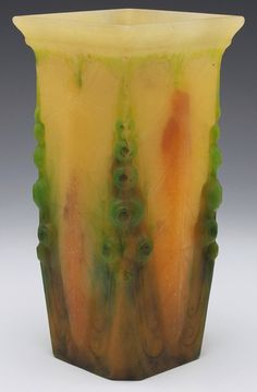 """Amalric Walter vase, designed by M. Corrette, pate-de-verre glass with leaf and berry designs in yellow brown and green, signed, 4""""w x 8.5""""h"""