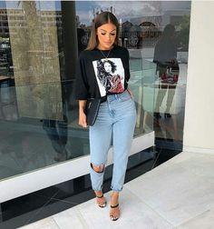 Como atualizar o look com mom jeans - Guita Moda Outfit Jeans, Heels Outfits, Dope Outfits, Jean Outfits, Classy Outfits, Stylish Outfits, Fashion Outfits, Casual Bar Outfits, Outfits With Mom Jeans