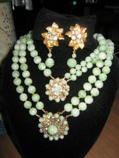 Lovely Miriam Haskell light green parure