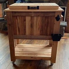 All weather 48-QT Rustic Cedar Chest Cooler Stand with Brass | Etsy Cooler Stand, Ice Chest Cooler, Pallet Furniture Easy, Galvanized Nails, Cedar Planters, Hanging Flower Pots, Wishing Well, Bay Window, Crates