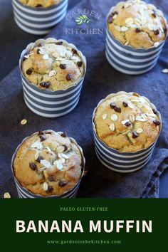 Banana Muffin (Paleo, Gluten-free); this easy no-mess Banana Muffin is made entirely in a blender, using few and simple ingredients to create the perfect recipe to start your day. #bananamuffins #chocolatechips #healthy #healthymuffinrecipe #easy #blendermuffin #bananarecipes #recipe #paleo #glutenfree #breakfast #muffin #dessert #snacks #bananachocolatechipmuffins Paleo Banana Muffins, Banana Chocolate Chip Muffins, Gluten Free Banana, Baking Muffins, On The Go Snacks, Healthy Snacks For Kids, Easy Snacks, Quick Easy Meals, Healthy Muffin Recipes
