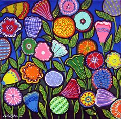 Simple Flower Garden Paintings value scale patterned background with simple plant or flower