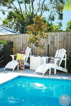 Outdoor inspiration: poolside loungers from Adirondack Chairs Australia create a comfortable spot to dry off after a dip.